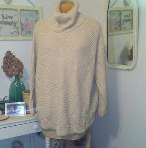 Ecru Tunic-Length Cable Sweater